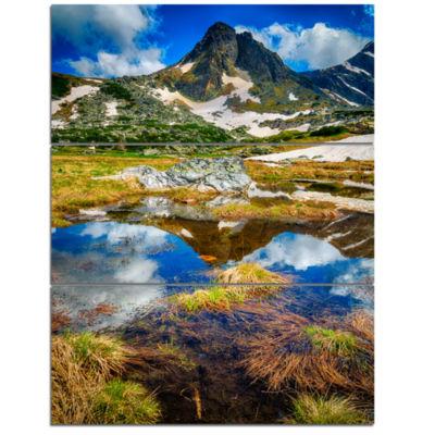 Designart Rila Lakes District With Reflection Landscape Triptych Canvas Art Print