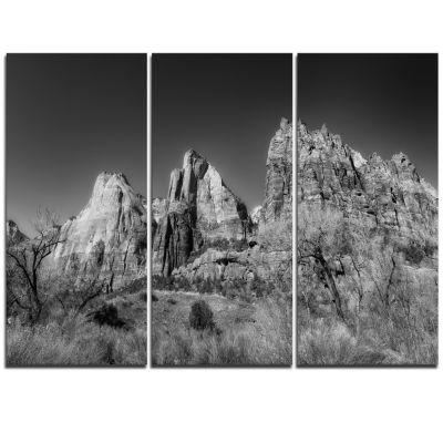 Designart Rising Red Rocks Black And White Landscape Triptych Canvas Art Print