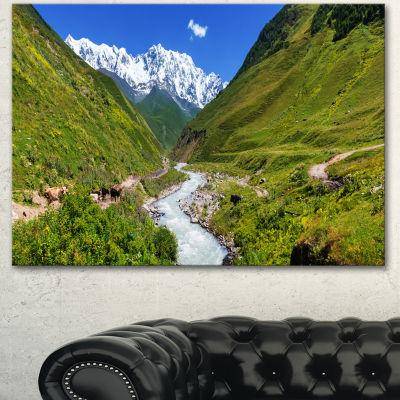 Designart River In Caucasus Mountains Landscape Canvas Art Print - 3 Panels
