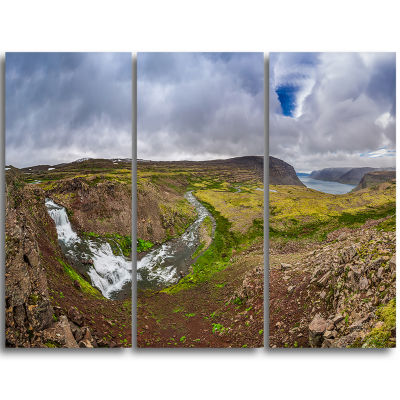 Designart River Leading To Waterfall Iceland Landscape Print Wall Artwork