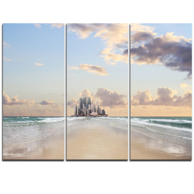 Designart Road Along The Beach To City Modern Seascape Triptych Canvas Artwork