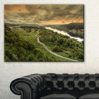 Design Art Road Along The Nemunas In Green Landscape Artwork Canvas