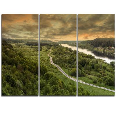 Designart Road Along The Nemunas In Green Landscape Artwork Triptych Canvas