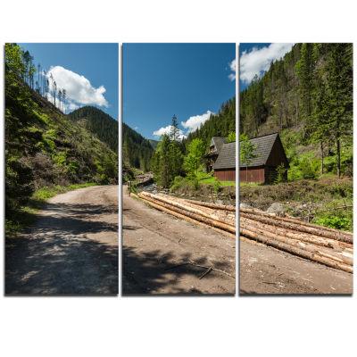 Designart Road In Chocholowska Valley Landscape Triptych Canvas Art Print