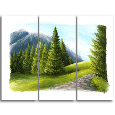 Designart Road In Green Mountains Landscape Triptych Canvas Art Print