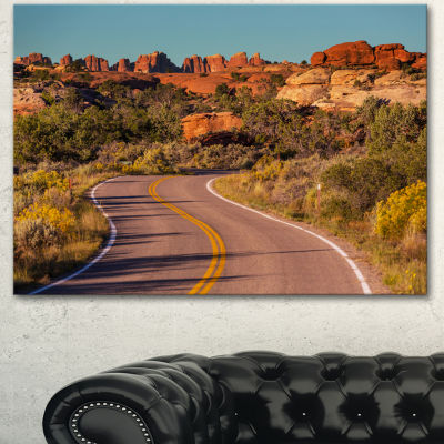 Designart Road In Rocky American Prairie LandscapeCanvas Art Print - 3 Panels