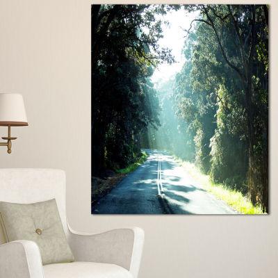 Designart Road In The Jungle At Sunset Landscape Canvas Art Print - 3 Panels