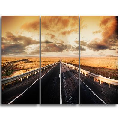 Designart Road Through Desert Panorama Extra LargeWall Art Landscape