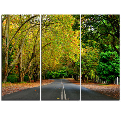 Designart Road Through Stunning Greenery LandscapeTriptych Canvas Art Print