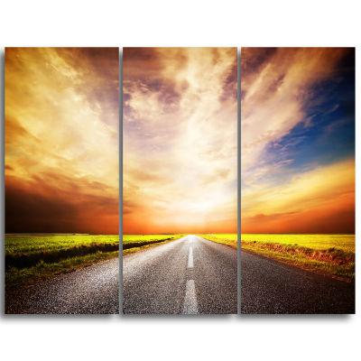 Designart Road To Yellow Sunset Sky Extra Large Wall Art Landscape