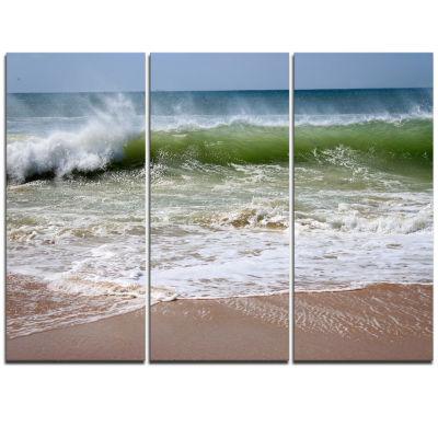 Designart Roaring Sea Waves And Blue Sky SeascapeTriptych Canvas Art Print