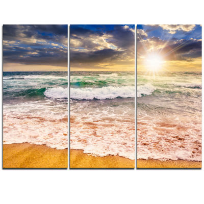 Designart Roaring Sea Waves And Bright Sun Seascape Triptych Canvas Art Print