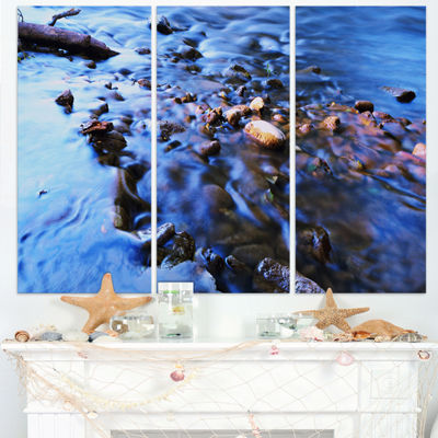 Designart Rock Blue River Panorama Oversized BeachTriptych Canvas Artwork