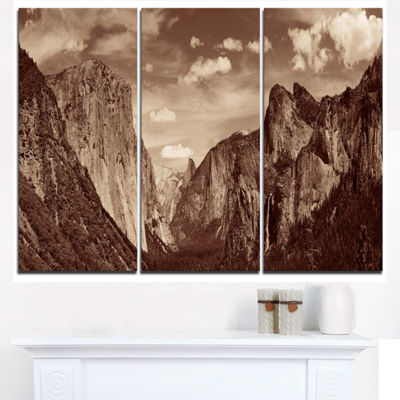 Designart Rocks And Forest In Black And White Landscape Triptych Canvas Art Print