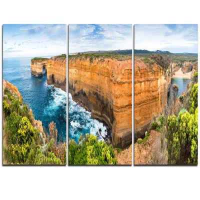 Designart Rocks And Vegetation Of Victoria Beach Large Seascape Art Triptych Canvas Print