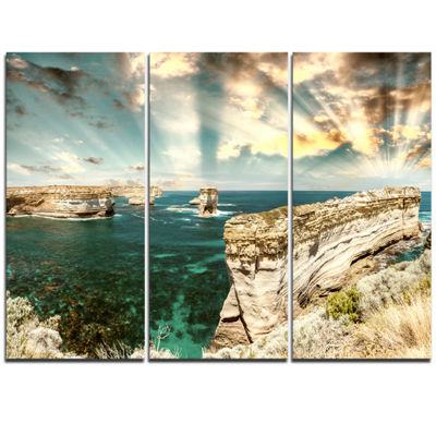 Designart Rocks At Great Ocean Road Victoria ExtraLarge Seascape Art Triptych Canvas