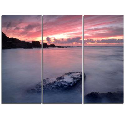 Designart Rocks Dark Samarra Seashore Sintra Seashore Triptych Canvas Art Print