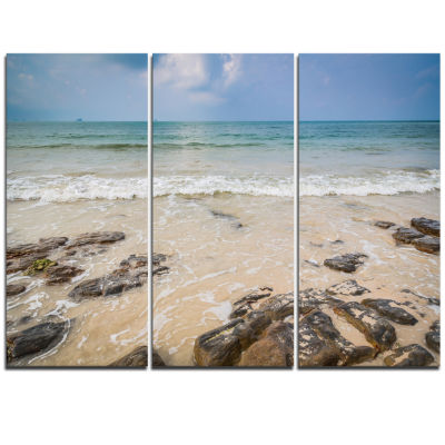 Designart Rocks On Typical Tropical Beach Beach Photo Triptych Canvas Print