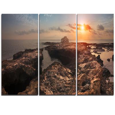 Designart Rocky African Coast Panorama OversizedBeach Triptych Canvas Artwork