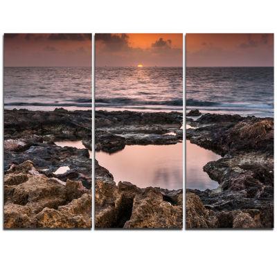Designart Rocky African Coastline Sunset OversizedBeach Triptych Canvas Artwork