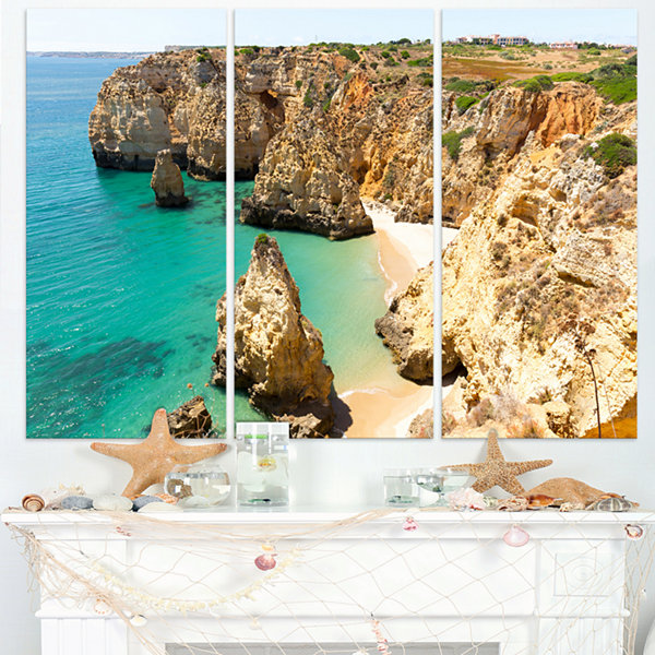 Designart Rocky And Rough Portugal Bay Extra LargeSeashore Triptych Canvas Art