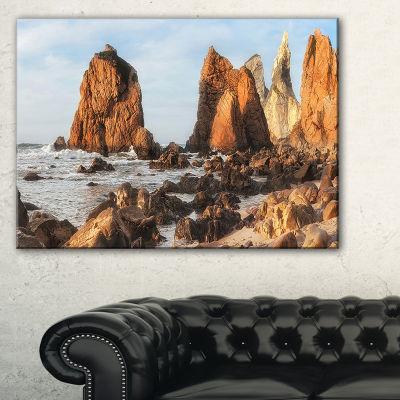 Designart Rocky Atlantic Coast In Brown Large Seascape Art Canvas Print