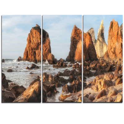 Designart Rocky Atlantic Coast In Brown Large Seascape Art Triptych Canvas Print
