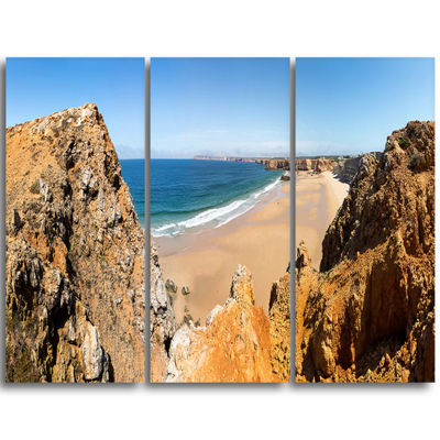 Designart Rocky Bay Portugal Panorama Landscape Triptych Canvas Art Print