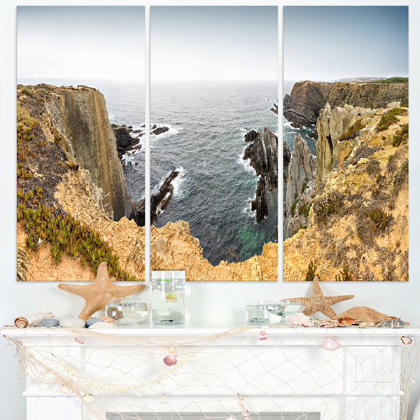 Design Art Rocky Bay Portugal Panorama Oversized Beach Triptych Canvas Artwork