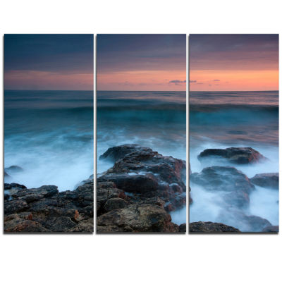 Designart Rocky Beach And White Waves Large Seashore Triptych Canvas Print