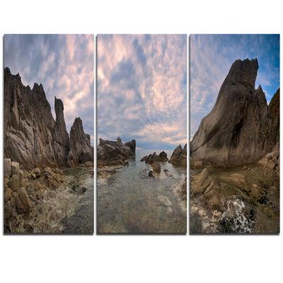 Designart Rocky Beach East Sea On Overcast Day Landscape Triptych Canvas Art Print