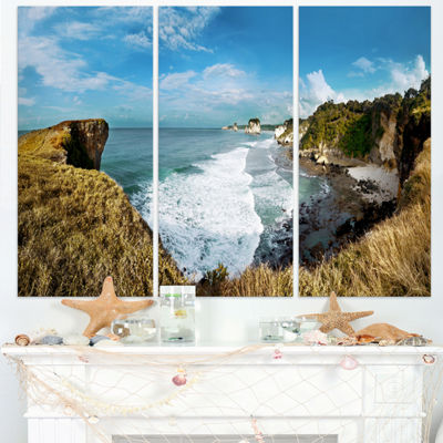 Designart Rocky Beach On The Sumba Island Large Seascape Art Triptych Canvas Print
