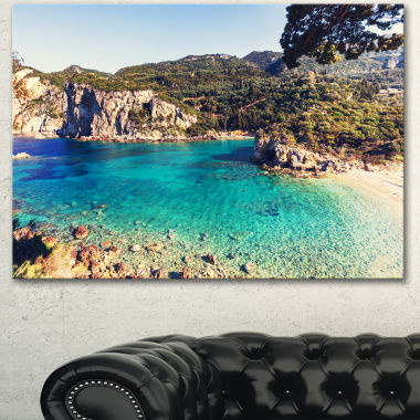 Design Art Rocky Beach With Turquoise Water BeachPhoto Canvas Print