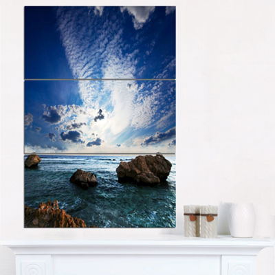Designart Rocky Beach With White Clouds Modern Beach Triptych Canvas Art Print