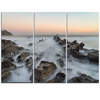 Designart Rocky Beach With White Waters Modern Seashore Triptych Canvas Art