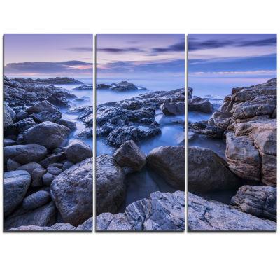 Designart Rocky Blue Seashore In Morning Modern Seascape Triptych Canvas Artwork