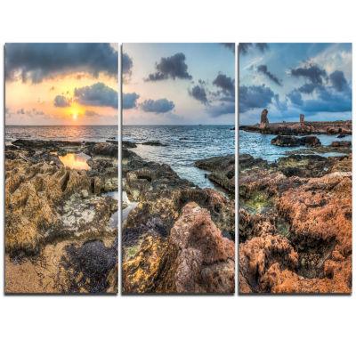 Designart Rocky Blue Seashore Sunset Extra Large Seashore Triptych Canvas Art