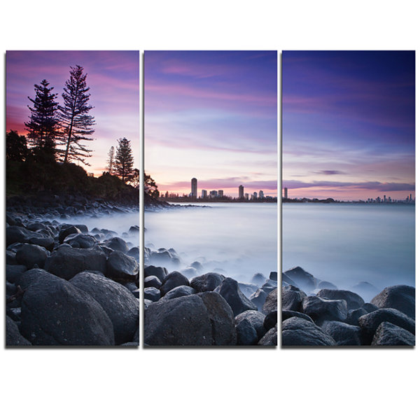 Designart Rocky Burleigh Point In Blue Extra LargeSeascape Art Triptych Canvas