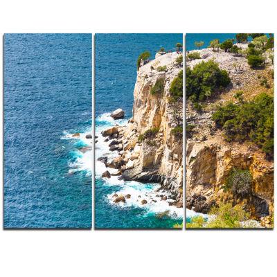 Designart Rocky Cliff Coast Thassos Greece Extra Large Seashore Triptych Canvas Art