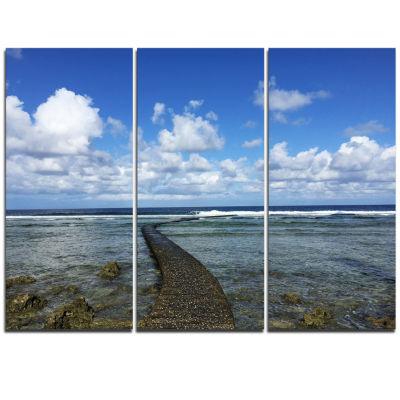 Designart Rocky Coast Along Pacific Ocean Extra Large Seashore Triptych Canvas Art