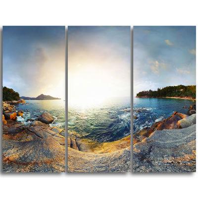 Designart Rocky Coast In Andaman Sea Landscape Triptych Canvas Art Print
