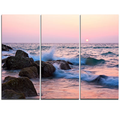 Designart Rocky Coast With Foam Waves Large Seashore Triptych Canvas Print