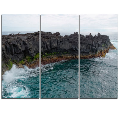 Designart Rocky Coast With Moss In Azores Extra Large Seashore Triptych Canvas Art