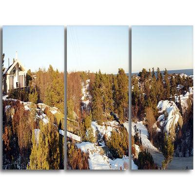 Designart Rocky Coast With Wooden Cottage Landscape Triptych Canvas Art Print