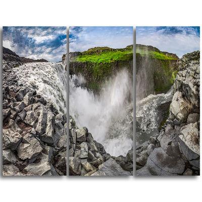 Designart Rocky Dettifoss Waterfall In Iceland Landscape Print Wall Artwork