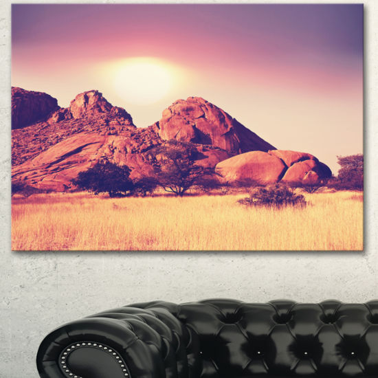Designart Rocky Hills And Grassland In Africa Oversized Landscape Canvas Art