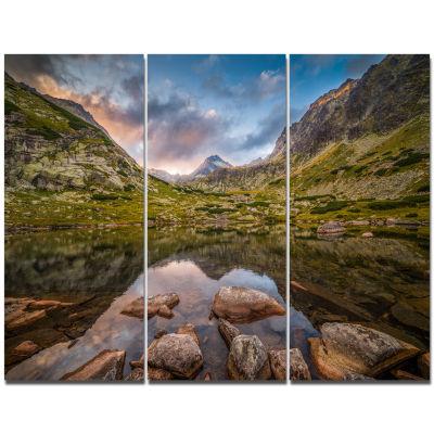 Designart Rocky Lake Above Skok Waterfall Landscape Triptych Canvas Art Print