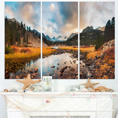 Designart Rocky Lake Sunset Panorama Modern Seashore Triptych Canvas Art