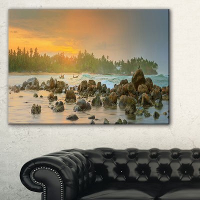 Designart Rocky Romantic Beach Of Sri Lanka Landscape Artwork Canvas