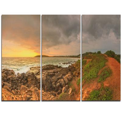 Designart Rocky Romantic Sri Lanka Beach OversizedBeach Triptych Canvas Artwork